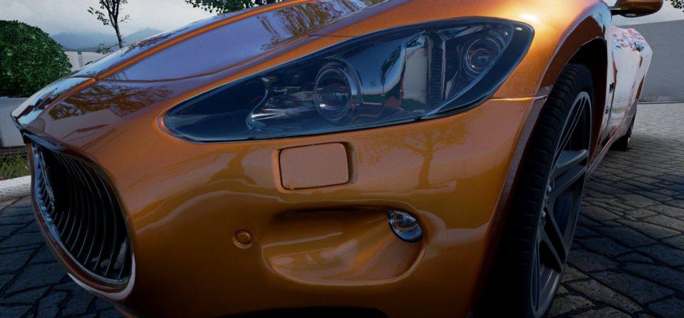 CloseUp Front-Scheinwerfer aus Konfigurator mit Bedienelementen (Unreal)